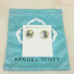 """Kendra Scott Morgan Iridescent Stud Earrings Prong set heptagonal faceted stone stud earrings. Post back. Imported. Approx. 1"""" L x 0.5"""" W. 14k gold plated, dyed glass, enhanced mother-of-pearl, enhanced magnesite.  Color: Translucent Iridescent-gold. Condition: New with tags. Comes with Kendra Scott dust bag in a jewelry box. NO TRADES!! Kendra Scott Jewelry Earrings"""