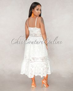 Chic Couture Online - Lorena Off White Lace Overlay Midi Dress