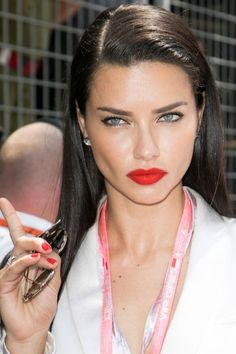 Get Adriana Lima's exact red lipstick