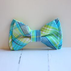 The Beau- aqua and lime preppy plaid double stacked bow tie for boys and men of all ages. $22.00, via Etsy.