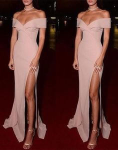 dusty pink prom dress, long prom dress, off shoulder prom dress, side slit prom dress, cheap evening dress, BD25635