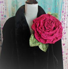 Antique Silver Medium Layered Filigree Single Rose Hair Clip in Deep Romance Red