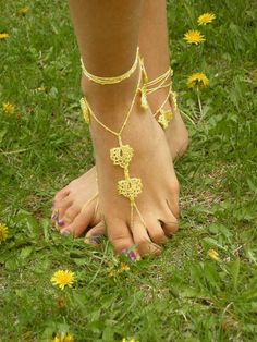 Barefoot Sandals bead yellow READY TO SHIP by SibelDesign on Etsy, $14.90