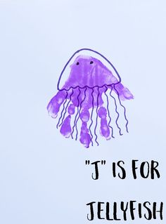 "Hand painting for kids Letter ""J"" Jellyfish Handprint Art for Preschoolers Letter J Crafts, Abc Crafts, Ocean Crafts, Daycare Crafts, Classroom Crafts, Animal Crafts, Daycare Rooms, Quick Crafts, Beach Crafts"