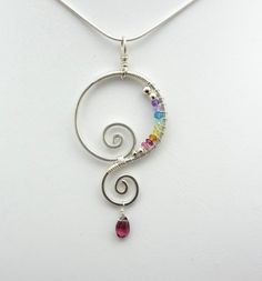 Rainbow Chakra Spiral Wire Wrapped Pendant by TwistedBlissDesigns, $48.00