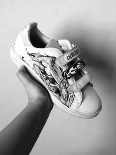 Adidas Stan Smith White Sneakers with customized illustration, handdrawn by me. :)