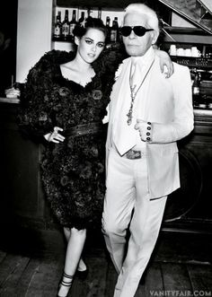 Kristen Stewart, with Karl Lagerfeld, in Chanel spring 2012 couture, photographed by Mario Testino