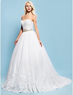 Ball Gown Sweetheart Chapel Train Lace And Tulle Wedding Dress