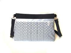 sac bandouliere noir et gris imprimé effet 3D , sac a main tissu plissé motifs geometriques, pochette bandouliere tissu : Sacs bandoulière par tchai-walla