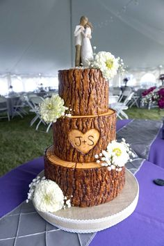 Tree Stump Wedding Cake by Custom Cakes by Ann Marie - http://cakesdecor.com/cakes/302952-tree-stump-wedding-cake