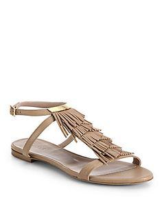 Chloe Leather Fringe Flat Sandals
