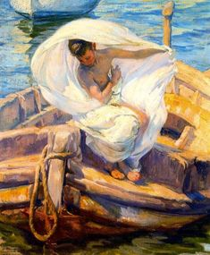 """""""Bather In The Boat"""" by José Mongrell Torrent (1870-1937, Spain)"""