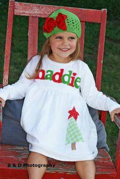 Girl's Christmas Dress - Personalized Christmas Dress- Tree with Star Applique Dress. $33.00, via Etsy.