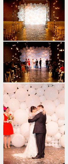 How unique is this white balloon wedding ceremony backdrop?! ~ we ❤ this! | www.balloon-decoration-guide.com