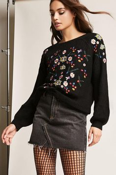 Product Name:Embroidered Balloon-Sleeve Sweater, Category:sweater, Forever 21, Floral Sweater, Long Tops, New Dress, Floral Tops, Latest Trends, Mini Skirts, Cute Outfits, Balloon