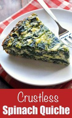 Flavorful crustless spinach quiche is perfect for brunch or a meatless dinner. I bake two at a time, to ensure I have yummy leftovers! Healthy Food Blogs, Healthy Meals For Two, Healthy Recipes, Vegetarian Recipes, Cooking Recipes, Keto Recipes, Quiche Healthy, Spinach Quiche Recipes, Keto Quiche