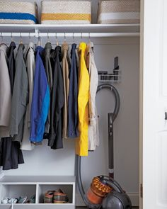 Ideas Small Coat Closet Organization Under Stairs Small Coat Closet, Utility Closet, Small Closets, Foyers, Entry Closet Organization, Storage Organization, Storage Ideas, Vacuum Cleaner Storage, Front Hall Closet