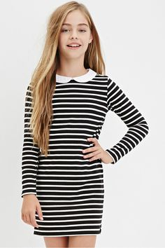 Girls Collared Stripe Shift Dress (Kids) | Forever 21 - 2000181296