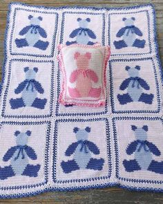 Picture of Baby Bears Afghan and Pillow Crochet Pattern