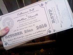 Invitation by goswyn, via Flickr  awesome ticket and amazing wedding.