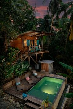 Something like this but up in the trees above the natural pool. Maybe with an outdoor shower at the base. Water Bungalow over the pool at The Firefly, Bocas Del Toro, Panama House Of Turquoise, Luxury Tree Houses, Cool Tree Houses, Casa Hotel, Tree House Designs, Unique House Design, Modern Design, Future House, Tiny House
