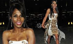 Sinitta makes a statement in Grecian-patterned gown and beehive at LFW - great night for Studio 10!!