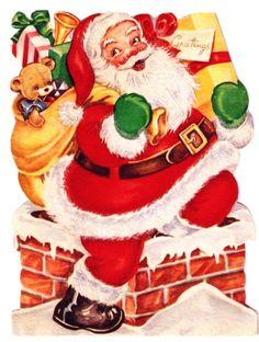 Vintage Christmas Card Santa Down the Chimney.