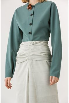 Adjusted volume High rise Draped upper part Metal zip Vents Gored front Tone-on-tone topstitching Waist Skirt, High Waisted Skirt, Christophe Lemaire, Blouse, Long Sleeve, Skirts, Sleeves, Shopping, Tops