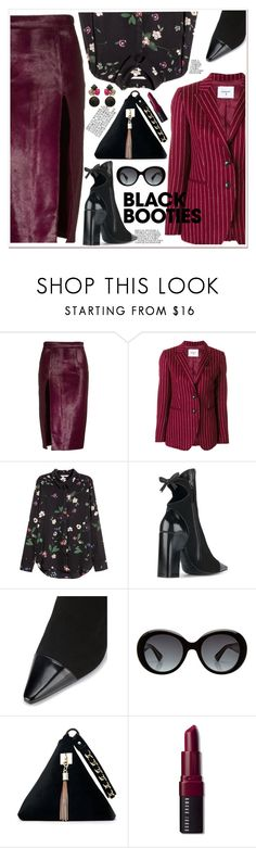 """""""Back to Basics: Black Booties"""" by spenderellastyle ❤ liked on Polyvore featuring Brandon Maxwell, Dondup, Fabrizio Viti, Gucci, Bobbi Brown Cosmetics, blackbooties and darkflorals"""