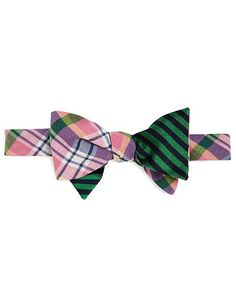 Social Primer Reversible Bow Tie: Madras and BB#5 Stripe Pink-Green-Navy
