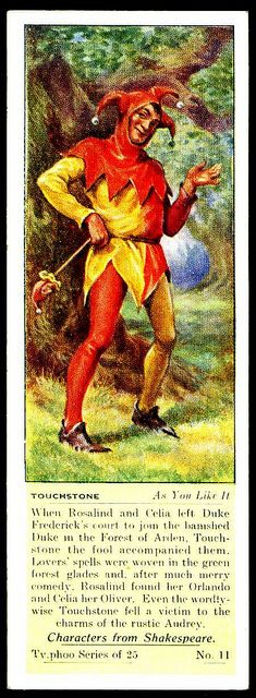 """Typhoo Tea Card - Touchstone (As You Like It) - """"Characters from Shakespeare"""" (series of 25 issued in Shakespeare Plays, William Shakespeare, Joker Queen, Typhoo, Jester Costume, Joker Playing Card, The Wild Geese, Maid Marian, Street Magic"""