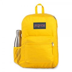 Cross Town Remix is a perfect bag for primary school, but it is also used by many secondary and 3rd level students. It is also used as a day pack and for travelling. The side bottle holder will make all the difference. Kids Backpacks, School Backpacks, 6th Grade School Supplies, Yellow Backpack, Handbags For School, Back To School Shopping, Custom Business Cards, Break Room, Jansport Backpack
