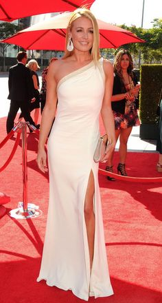 Cat Deeley in an ivory Badgley Mischka gown. I think this would be a chic wedding gown.