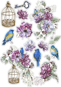 blue flowers for cutting scrapbooking - Yandex: found 24 thousand results Printable Planner Stickers, Journal Stickers, Scrapbook Stickers, Scrapbook Paper, Tumblr Stickers, Cute Stickers, 3d Sticker, Image Deco, Art Postal