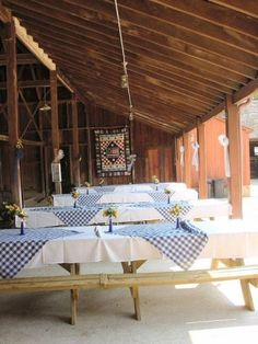 Additional view of picnic wedding layout. blue gingham scarves make the long table seating into more intimate groupings Picnic Table Wedding, Picnic Theme, Wedding Table Linens, Picnic Style, Picnic Weddings, Picnic Wedding Receptions, Wedding Picnic Tables, Wedding Seating, Picnic Decorations