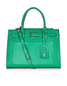 Penelope Belted Work Tote Bag | Green | Accessorize