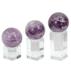 Amethyst Rock Crystal Spheres with Acrylic Bases $1850