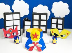 DIY Superhero party cereal box costume crafts: Get your crafting senses tingling with these fun ideas! Kids Crafts, Hero Crafts, Crafts For Kids To Make, Projects For Kids, Diy Projects, Craft Party, Diy Party, Party Ideas, Fun Ideas