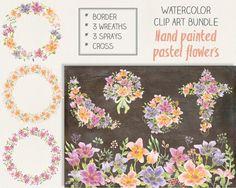 Watercolor clip art bundle: pastel flowers; wedding clip art; hand painted; weddings - instant download by LollysLaneShoppe on Etsy