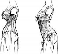 "This illustrates the concept behind the ""straight-front"" corset very well."