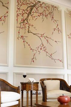 De Gournay hand painted plum blossom wallpaper