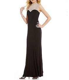 4c34310d6a0f Cachet Beaded High Neck Matte Jersey Gown Casual Dresses For Women
