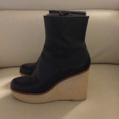 Jill Sander precious leather booties!! Comfortable and chic leather interior Jil Sander short boots! Wedge 5', sole that adders to wet weather!! Good condition, worn few times!! Jil Sander Shoes
