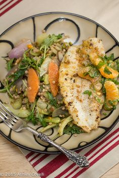 Pistachio-Crusted Catfish with Clementine Salad, Israeli Couscous & Roasted Fennel Recipe   Big Flavors from a Tiny Kitchen