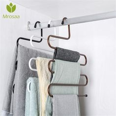 10PCS Clothes Hangers Stainelss Steel Reuasble Rubber Grip Clothes Hangers Skirt Hangers Coat Hangers for Home and Living