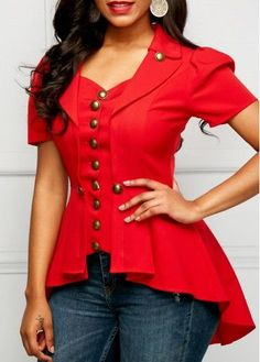 Red Button Embellished Asymmetric Hem Blouse | Rosewe.com - USD $30.95