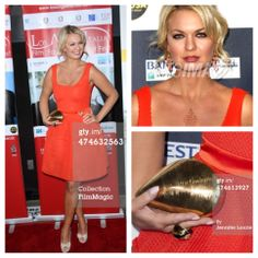 2014 LA Italia Opening Night wearing persimmon dress by Maje, diamond and coral jewelry and gold seashell clutch by Leon of Beverly Hills. Hair updo by Drybar Brentwood