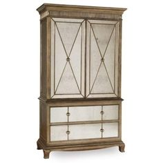 Hooker Furniture Sanctuary Armoire ($2,629) ❤ liked on Polyvore featuring home, furniture, storage & shelves, armoires, silver leaf furniture, 2 door 2 drawer wardrobe, drawer furniture, 2 door wardrobe and two door wardrobe