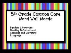 $3.50 5th Grade Common Core Word Wall Cards Reading Language Literacy - Jennifer Findley - TeachersPayTeachers.com