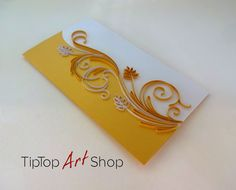 Best 10 Handmade Quilling Card in Gold and White by TipTopArtSHop Paper Quilling Patterns, Neli Quilling, Quilled Paper Art, Quilling Craft, Flower Cards, Paper Flowers, Quiling Cards, Ribbon Embroidery Tutorial, Quilling Tutorial